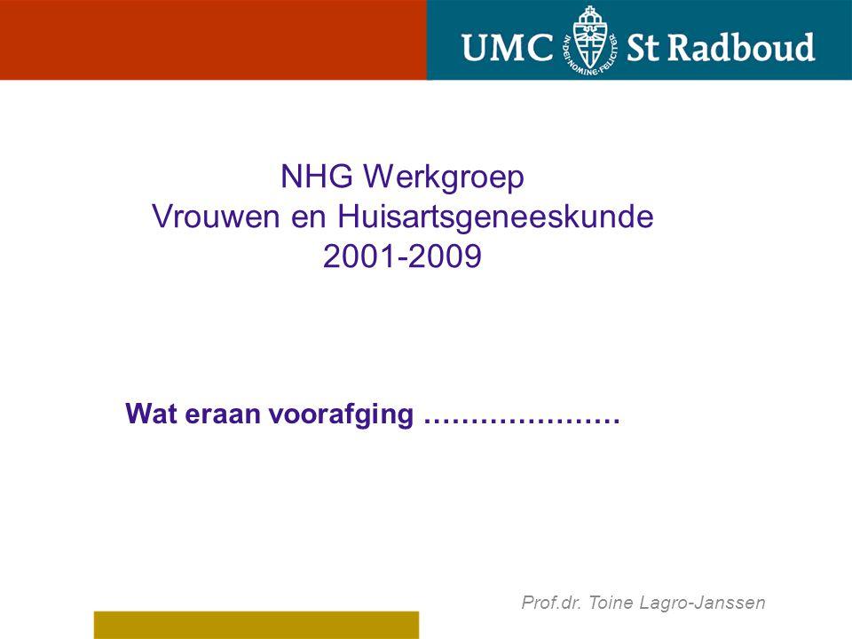 Wat eraan voorafging ………………… Prof.dr. Toine Lagro-Janssen NHG Werkgroep Vrouwen en Huisartsgeneeskunde 2001-2009