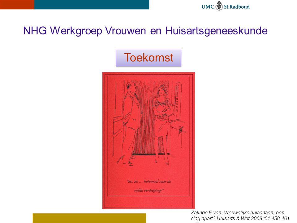 NHG Werkgroep Vrouwen en Huisartsgeneeskunde Toekomst Zalinge E van. Vrouwelijke huisartsen, een slag apart? Huisarts & Wet 2008 :51:458-461