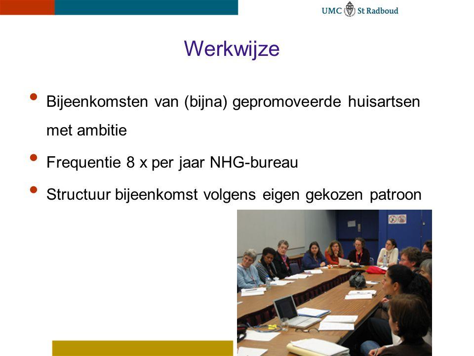 Werkwijze Bijeenkomsten van (bijna) gepromoveerde huisartsen met ambitie Frequentie 8 x per jaar NHG-bureau Structuur bijeenkomst volgens eigen gekoze