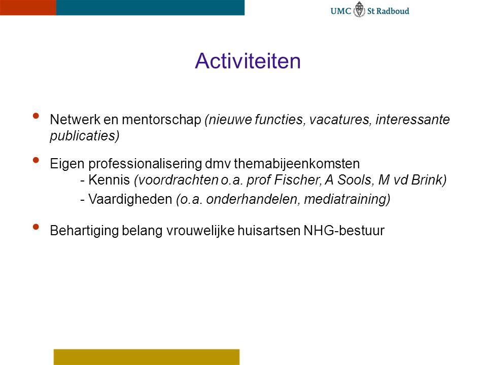 Netwerk en mentorschap (nieuwe functies, vacatures, interessante publicaties) Eigen professionalisering dmv themabijeenkomsten - Kennis (voordrachten