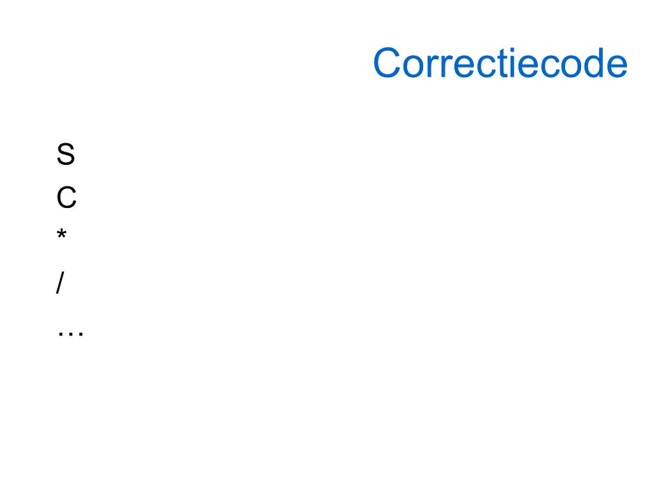 Correctiecode SC*/…SC*/…