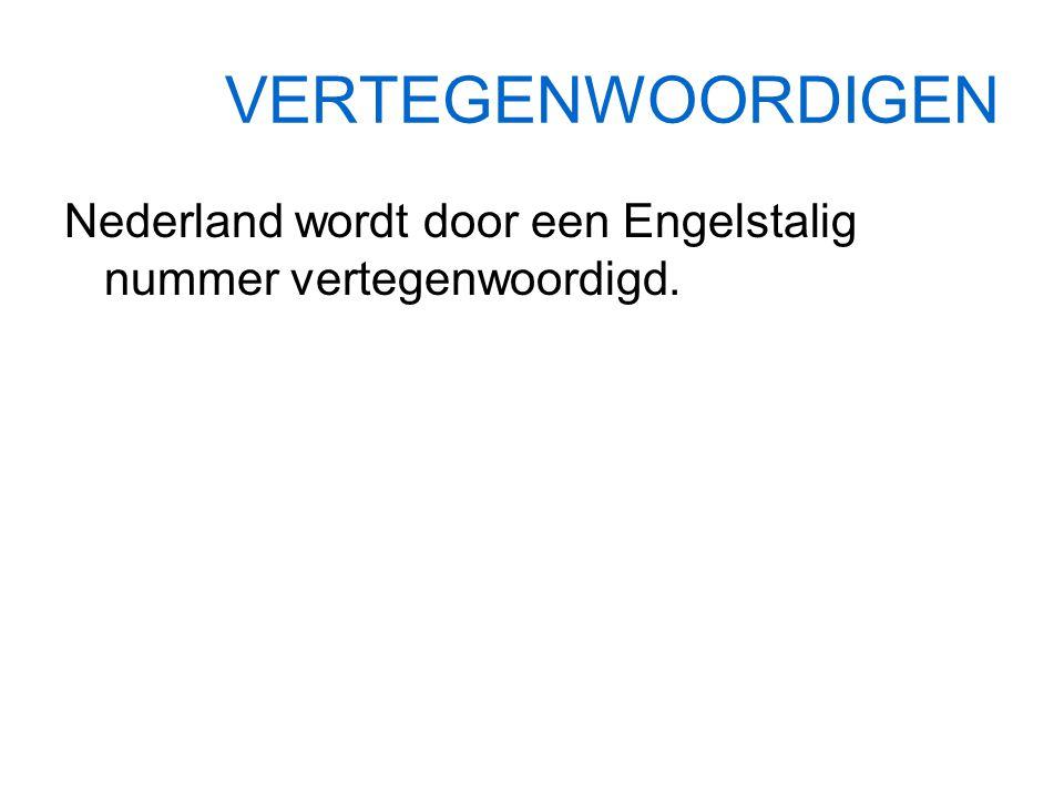 VERTEGENWOORDIGEN Nederland wordt door een Engelstalig nummer vertegenwoordigd.