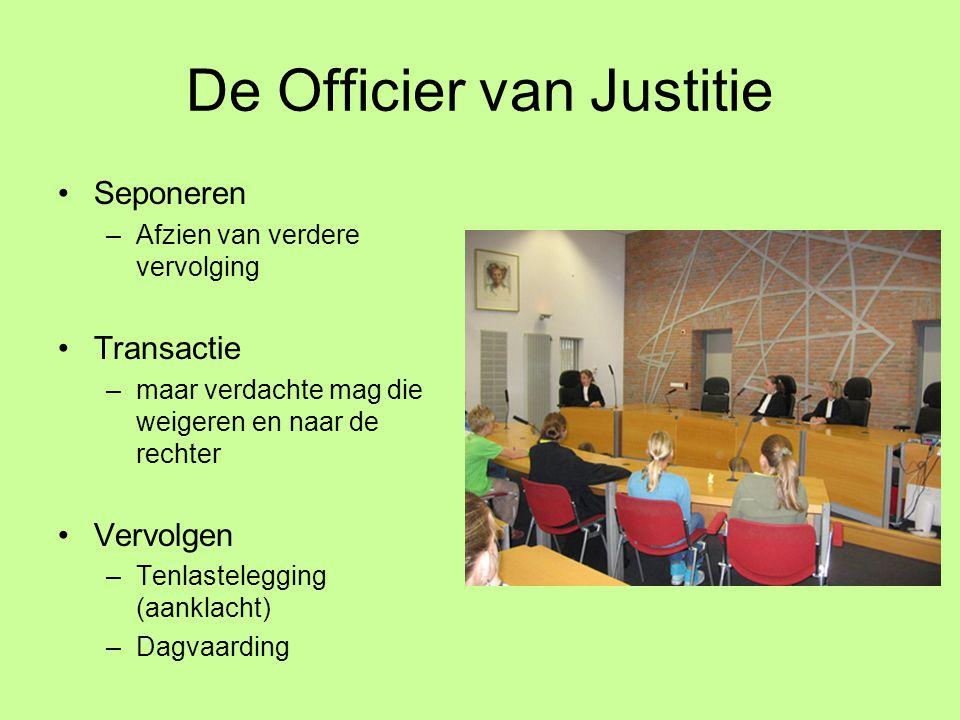 De Officier van Justitie Seponeren –Afzien van verdere vervolging Transactie –maar verdachte mag die weigeren en naar de rechter Vervolgen –Tenlastele