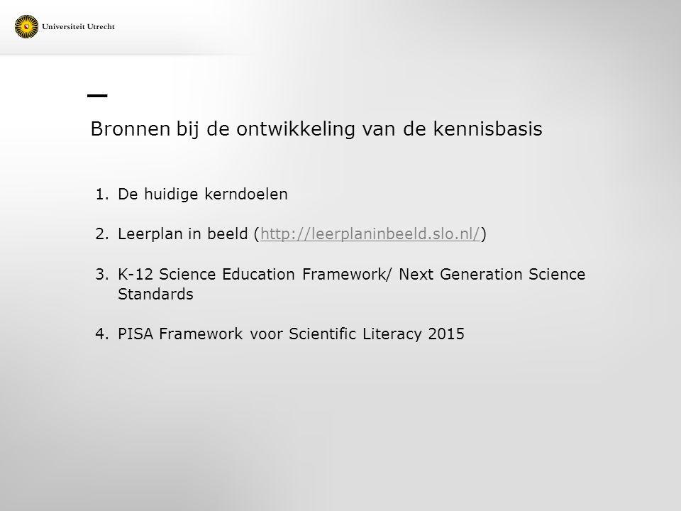Bronnen bij de ontwikkeling van de kennisbasis 1.De huidige kerndoelen 2.Leerplan in beeld (http://leerplaninbeeld.slo.nl/)http://leerplaninbeeld.slo.