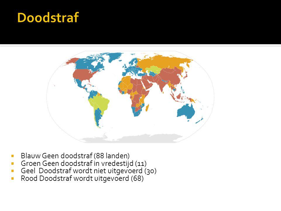  Blauw Geen doodstraf (88 landen)  Groen Geen doodstraf in vredestijd (11)  Geel Doodstraf wordt niet uitgevoerd (30)  Rood Doodstraf wordt uitgevoerd (68)