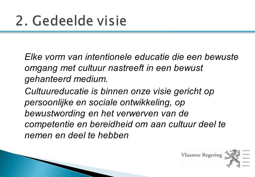 Elke vorm van intentionele educatie die een bewuste omgang met cultuur nastreeft in een bewust gehanteerd medium.