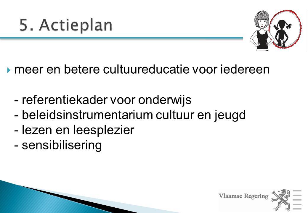  meer en betere cultuureducatie voor iedereen - referentiekader voor onderwijs - beleidsinstrumentarium cultuur en jeugd - lezen en leesplezier - sensibilisering