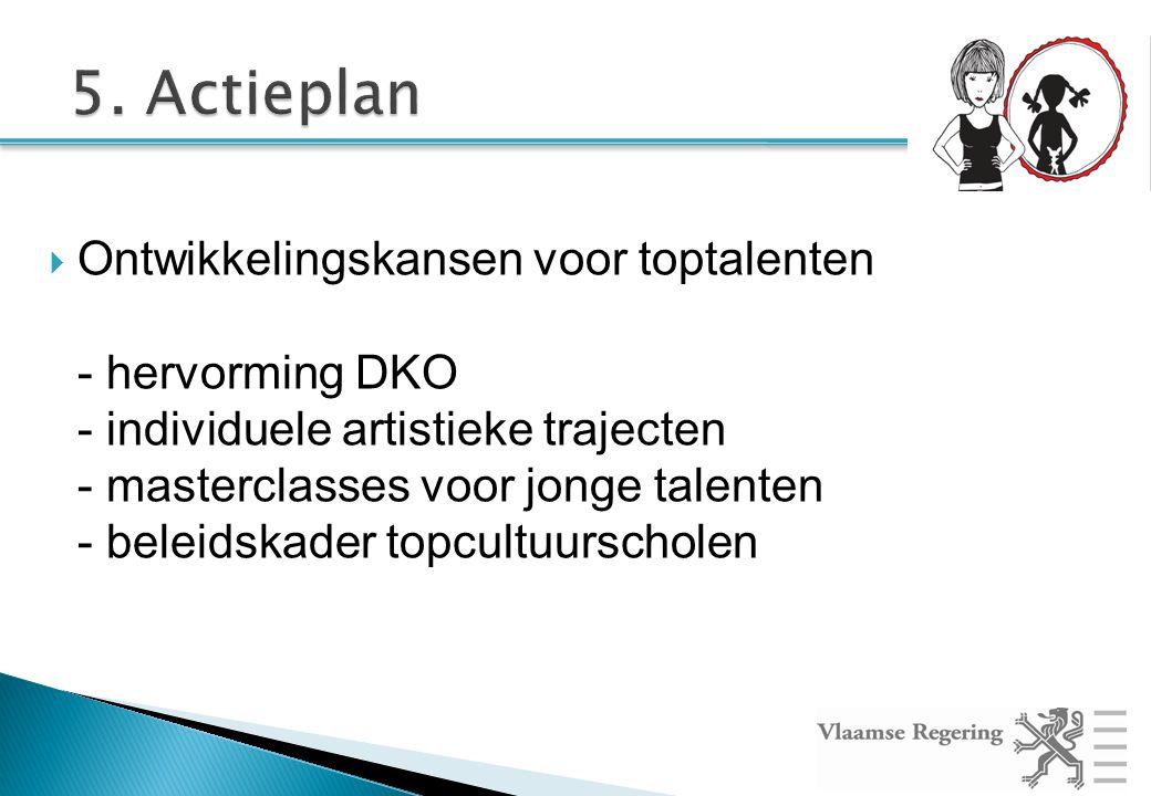  Ontwikkelingskansen voor toptalenten - hervorming DKO - individuele artistieke trajecten - masterclasses voor jonge talenten - beleidskader topcultuurscholen