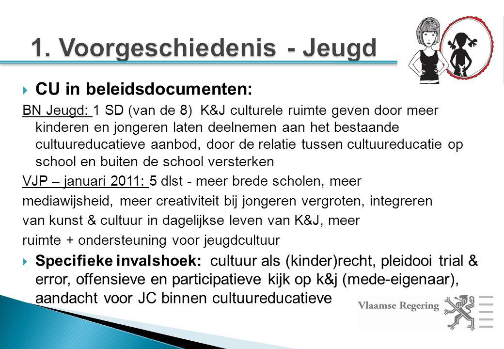 CU in beleidsdocumenten: BN Jeugd: 1 SD (van de 8) K&J culturele ruimte geven door meer kinderen en jongeren laten deelnemen aan het bestaande cultuureducatieve aanbod, door de relatie tussen cultuureducatie op school en buiten de school versterken VJP – januari 2011: 5 dlst - meer brede scholen, meer mediawijsheid, meer creativiteit bij jongeren vergroten, integreren van kunst & cultuur in dagelijkse leven van K&J, meer ruimte + ondersteuning voor jeugdcultuur  Specifieke invalshoek: cultuur als (kinder)recht, pleidooi trial & error, offensieve en participatieve kijk op k&j (mede-eigenaar), aandacht voor JC binnen cultuureducatieve