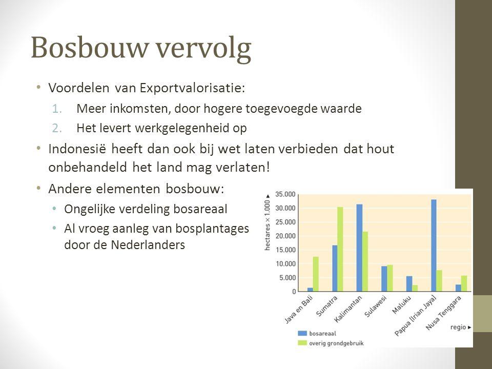 Bosbouw vervolg Voordelen van Exportvalorisatie: 1.Meer inkomsten, door hogere toegevoegde waarde 2.Het levert werkgelegenheid op Indonesië heeft dan