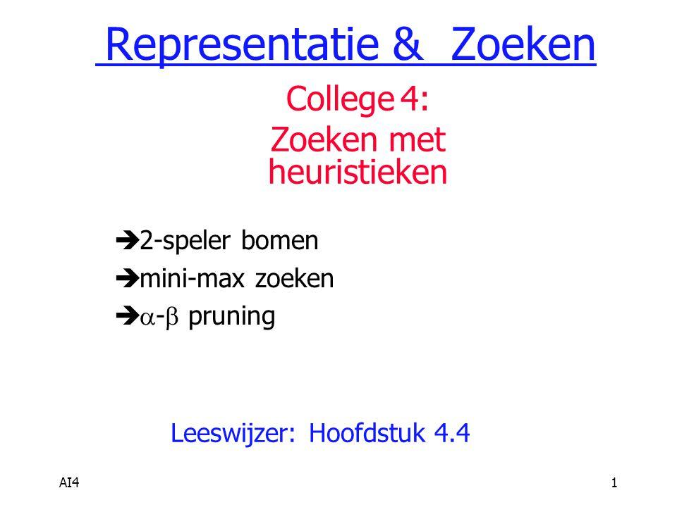 AI41  2-speler bomen  mini-max zoeken   -  pruning Leeswijzer: Hoofdstuk 4.4 Representatie & Zoeken College 4: Zoeken met heuristieken