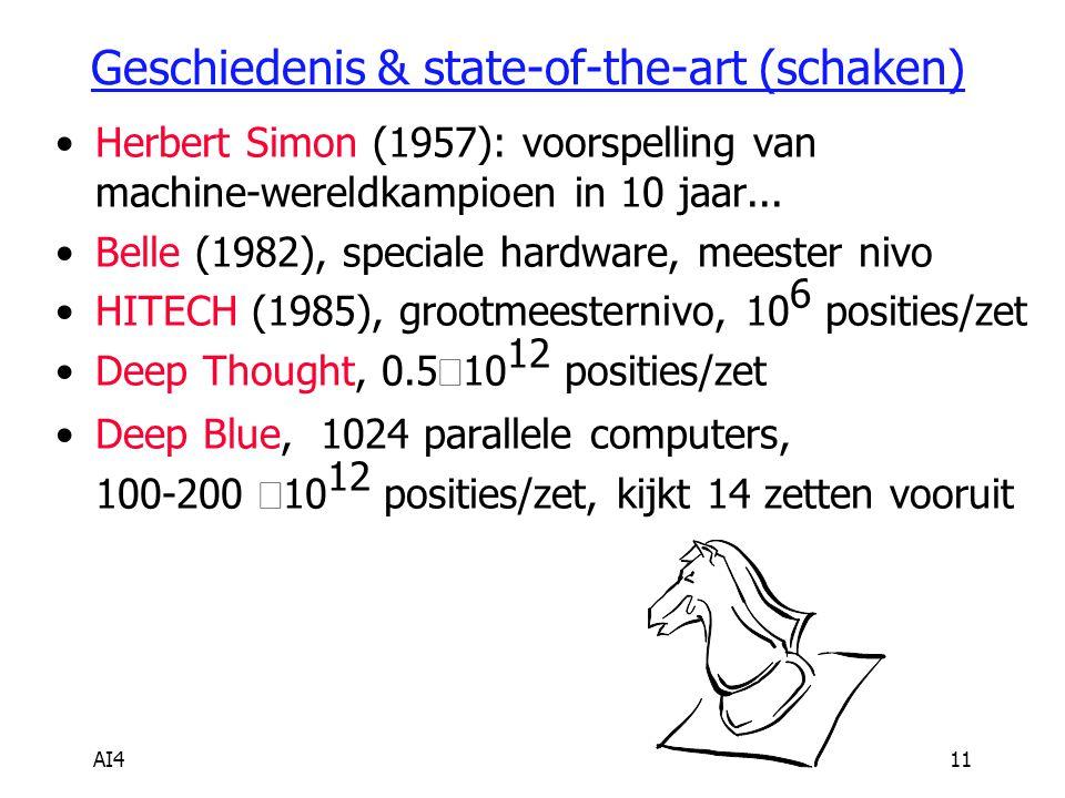 AI411 Geschiedenis & state-of-the-art (schaken) Herbert Simon (1957): voorspelling van machine-wereldkampioen in 10 jaar... Belle (1982), speciale har