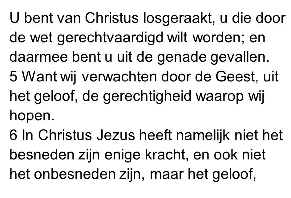 U bent van Christus losgeraakt, u die door de wet gerechtvaardigd wilt worden; en daarmee bent u uit de genade gevallen.