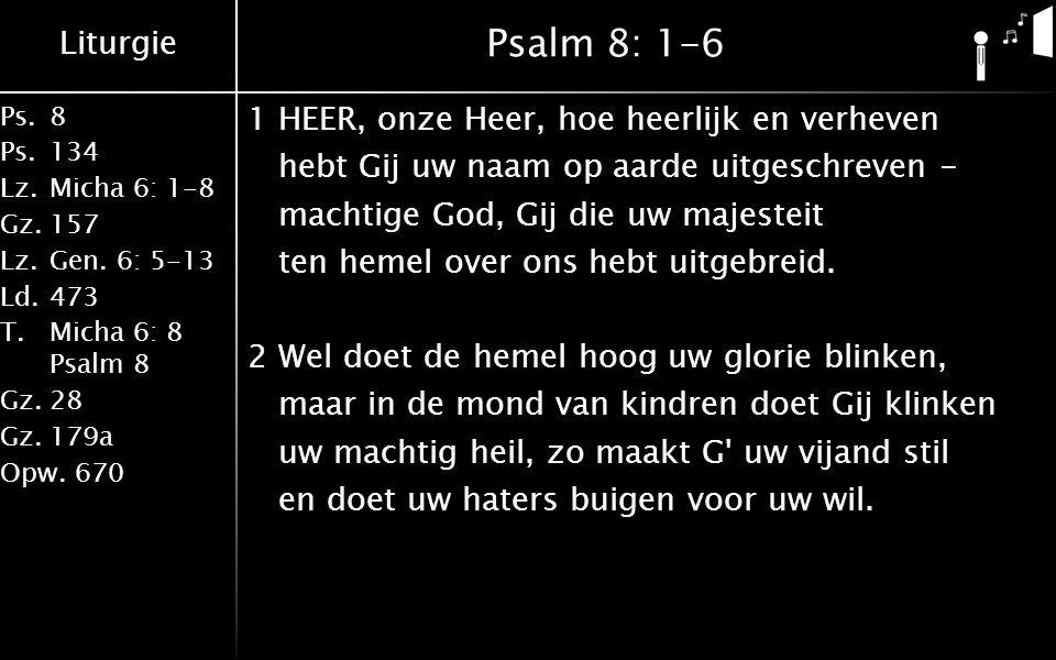 Liturgie Ps.8 Ps.134 Lz.Micha 6: 1-8 Gz.157 Lz.Gen. 6: 5-13 Ld.473 T.Micha 6: 8 Psalm 8 Gz.28 Gz.179a Opw.670 Psalm 8: 1-6 1HEER, onze Heer, hoe heerl
