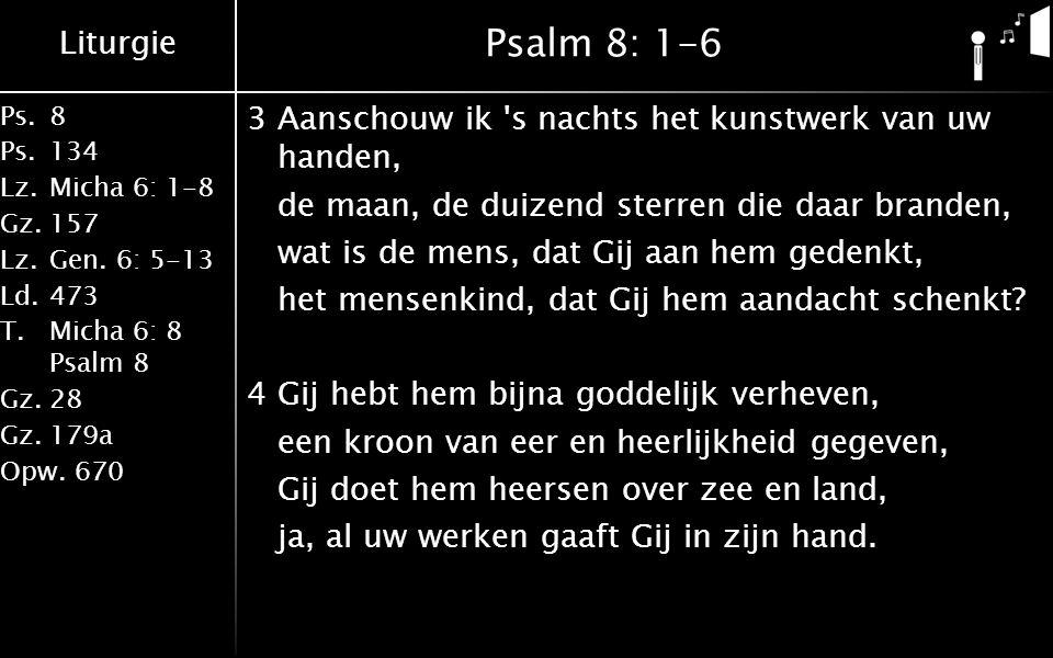 Liturgie Ps.8 Ps.134 Lz.Micha 6: 1-8 Gz.157 Lz.Gen. 6: 5-13 Ld.473 T.Micha 6: 8 Psalm 8 Gz.28 Gz.179a Opw.670 Psalm 8: 1-6 3Aanschouw ik 's nachts het