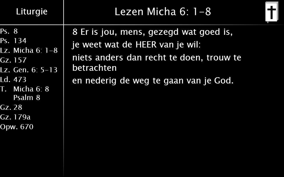 Liturgie Ps.8 Ps.134 Lz.Micha 6: 1-8 Gz.157 Lz.Gen. 6: 5-13 Ld.473 T.Micha 6: 8 Psalm 8 Gz.28 Gz.179a Opw.670 Lezen Micha 6: 1-8 8 Er is jou, mens, ge