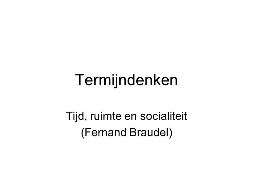 Termijndenken Tijd, ruimte en socialiteit (Fernand Braudel)