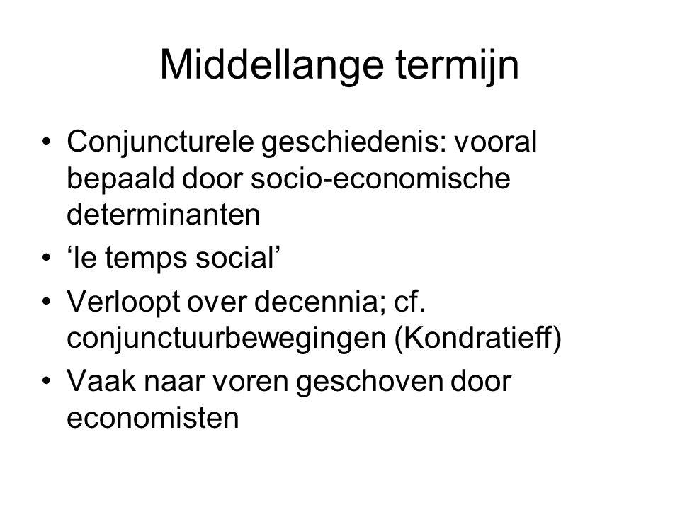 Middellange termijn Conjuncturele geschiedenis: vooral bepaald door socio-economische determinanten 'le temps social' Verloopt over decennia; cf. conj