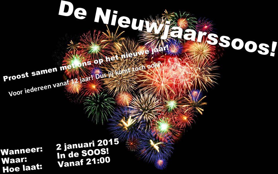 De Nieuwjaarssoos. Wanneer:2 januari 2015 Waar: In de SOOS.