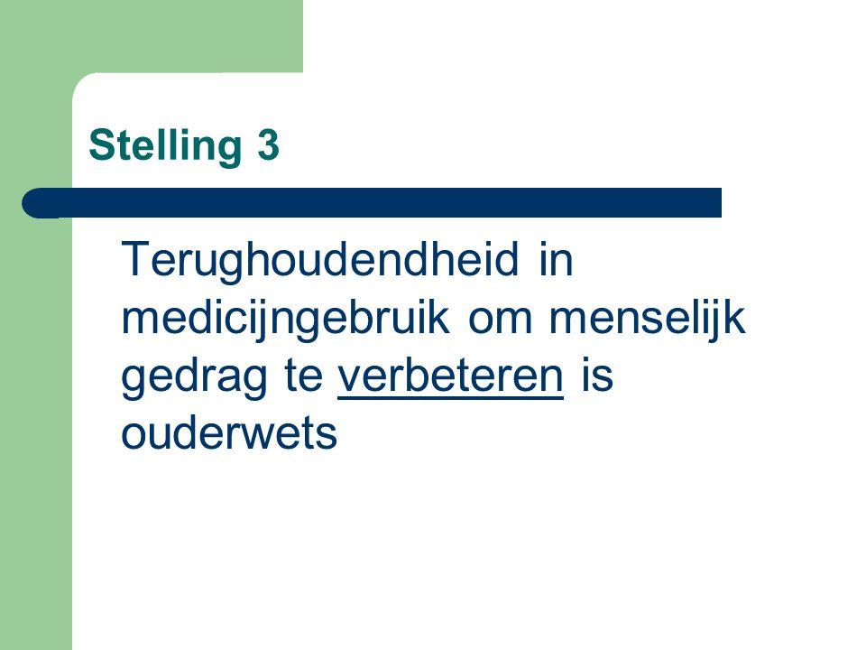 Stelling 3 Terughoudendheid in medicijngebruik om menselijk gedrag te verbeteren is ouderwets