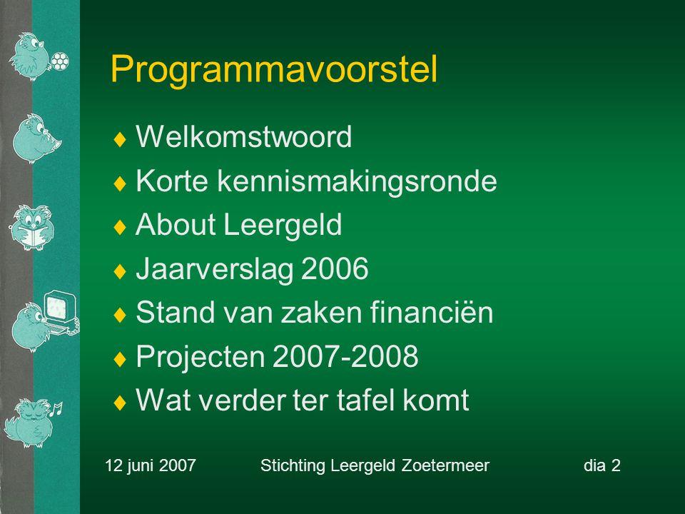 Projecten 2007  Bedrijvensportdag (RC Zoetermeer)  Maatschappelijke stages (ONC)  Matching grant (CKC-Leergeld)  Adopteer een Leergeldkind (HvR)  Computertrainingen (Rabo-EcoWare)  Interactieve website (HvR-Leergeld) 12 juni 2007 Stichting Leergeld Zoetermeerdia 13