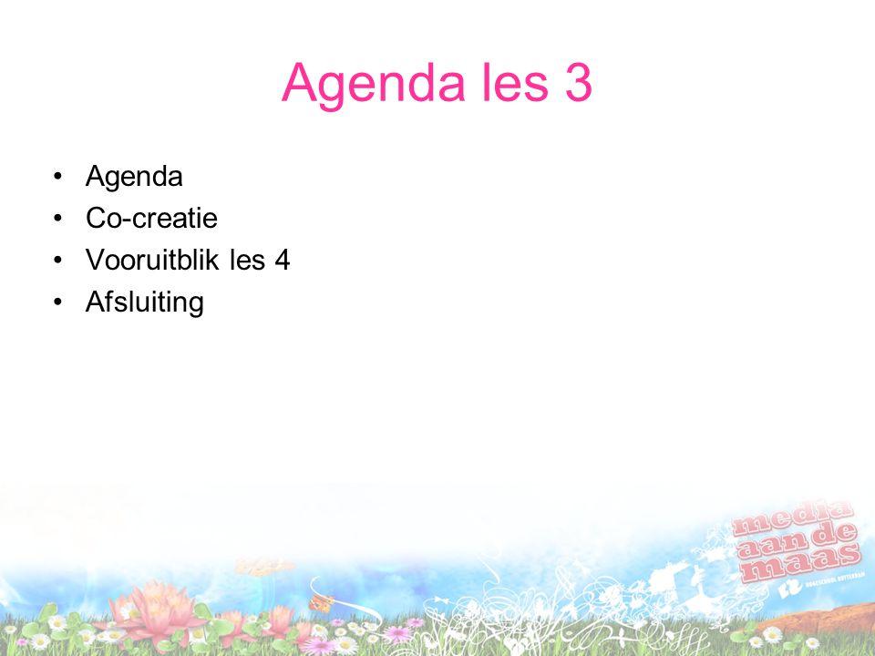 Agenda les 3 Agenda Co-creatie Vooruitblik les 4 Afsluiting