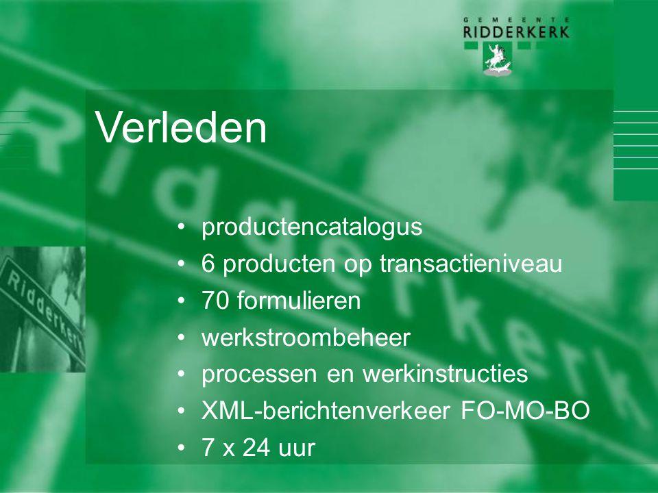 Verleden productencatalogus 6 producten op transactieniveau 70 formulieren werkstroombeheer processen en werkinstructies XML-berichtenverkeer FO-MO-BO 7 x 24 uur