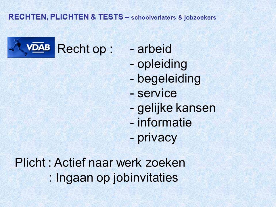 RECHTEN, PLICHTEN & TESTS – schoolverlaters & jobzoekers VDAB Recht op :- arbeid - opleiding - begeleiding - service - gelijke kansen - informatie - p