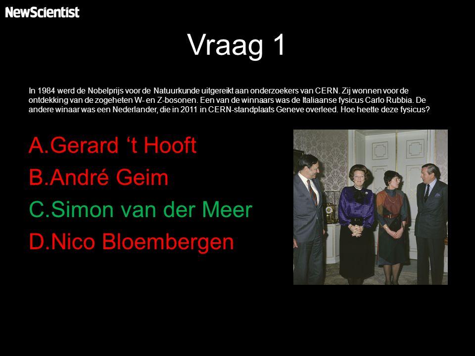 Vraag 1 In 1984 werd de Nobelprijs voor de Natuurkunde uitgereikt aan onderzoekers van CERN. Zij wonnen voor de ontdekking van de zogeheten W- en Z-bo