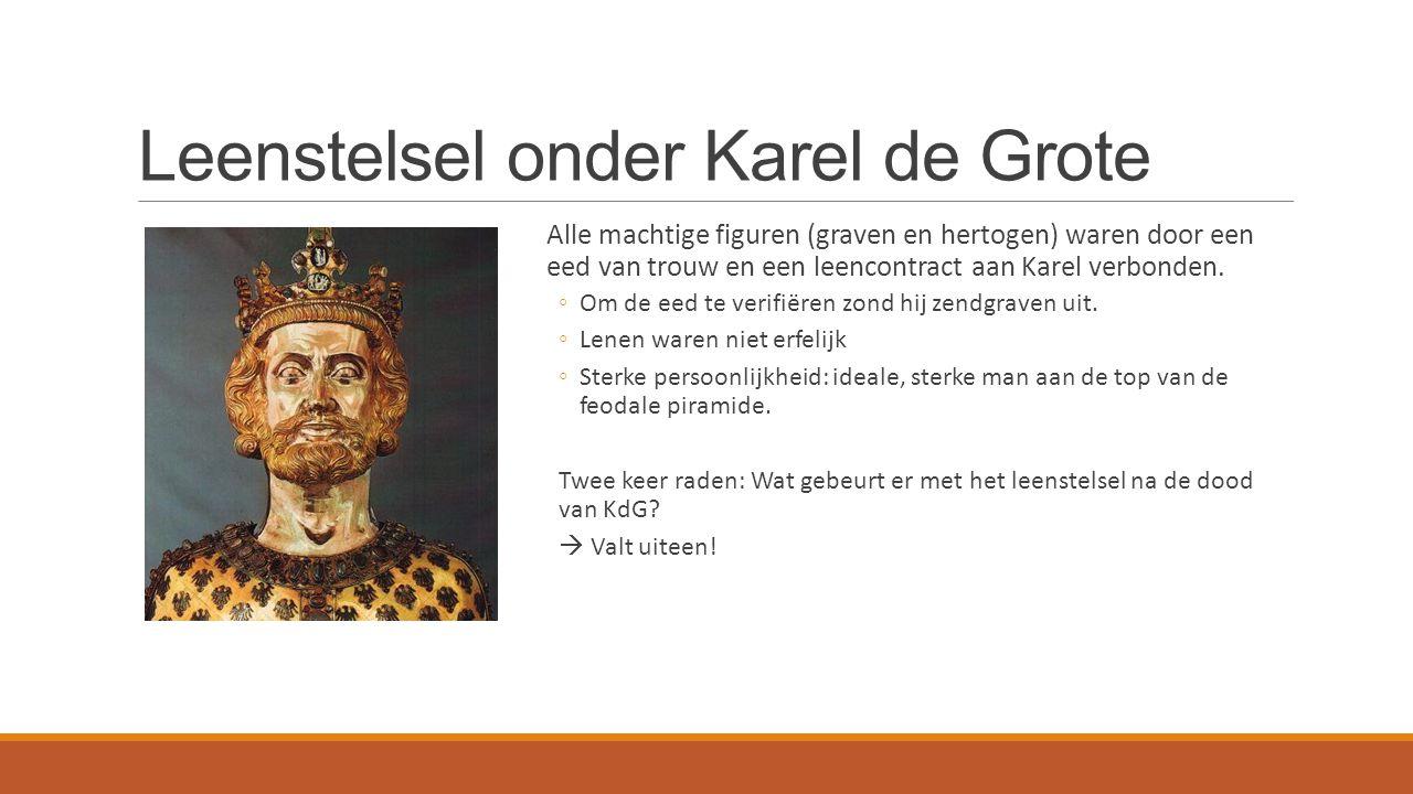 Leenstelsel onder Karel de Grote Alle machtige figuren (graven en hertogen) waren door een eed van trouw en een leencontract aan Karel verbonden.