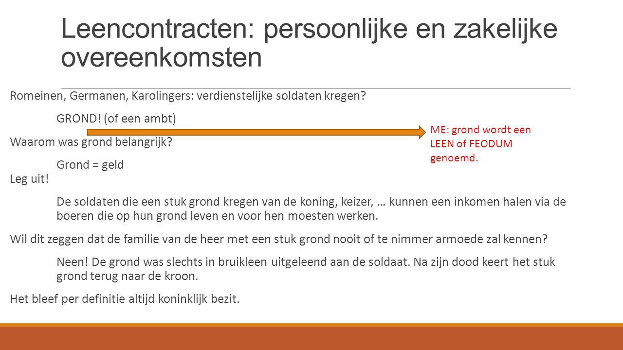 Leencontracten Het leenstelsel of FEODALITEIT.