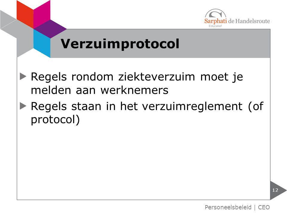 Regels rondom ziekteverzuim moet je melden aan werknemers Regels staan in het verzuimreglement (of protocol) 12 Verzuimprotocol Personeelsbeleid   CEO