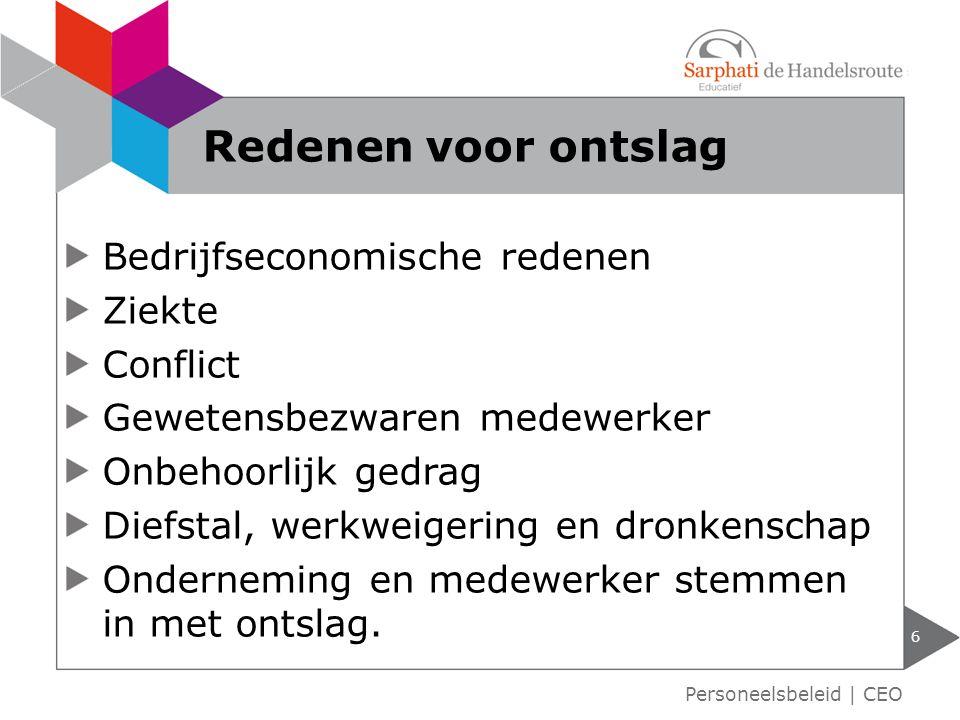 Beëindigen arbeidsovereenkomst 7 Personeelsbeleid | CEO