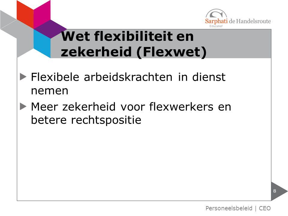 Flexibele arbeidskrachten in dienst nemen Meer zekerheid voor flexwerkers en betere rechtspositie 8 Wet flexibiliteit en zekerheid (Flexwet) Personeelsbeleid   CEO