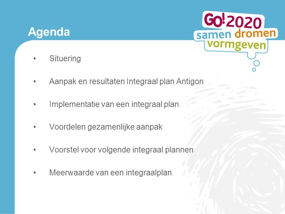 Agenda Situering Aanpak en resultaten Integraal plan Antigon Implementatie van een integraal plan Voordelen gezamenlijke aanpak Voorstel voor volgende integraal plannen Meerwaarde van een integraalplan