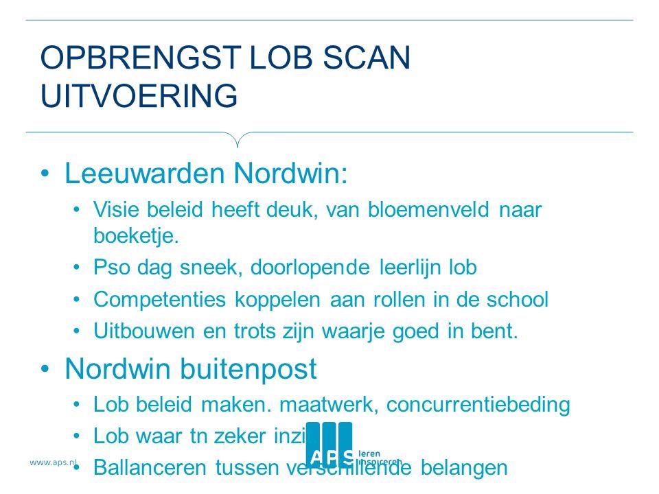 OPBRENGST LOB SCAN UITVOERING Leeuwarden Nordwin: Visie beleid heeft deuk, van bloemenveld naar boeketje.