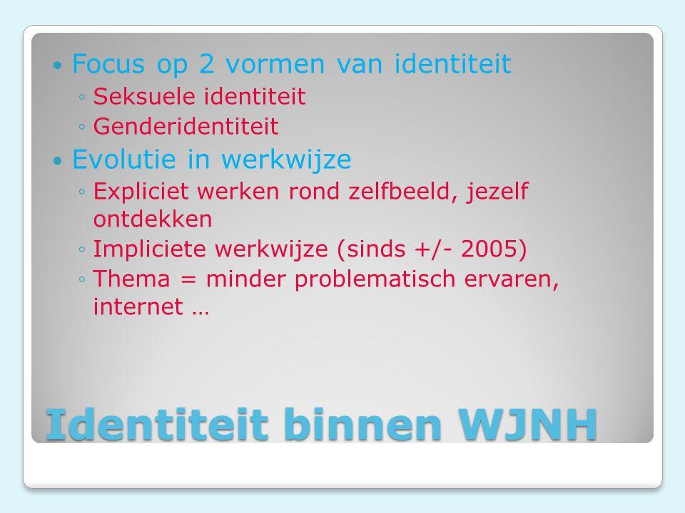 Identiteit binnen WJNH Focus op 2 vormen van identiteit ◦Seksuele identiteit ◦Genderidentiteit Evolutie in werkwijze ◦Expliciet werken rond zelfbeeld, jezelf ontdekken ◦Impliciete werkwijze (sinds +/- 2005) ◦Thema = minder problematisch ervaren, internet …