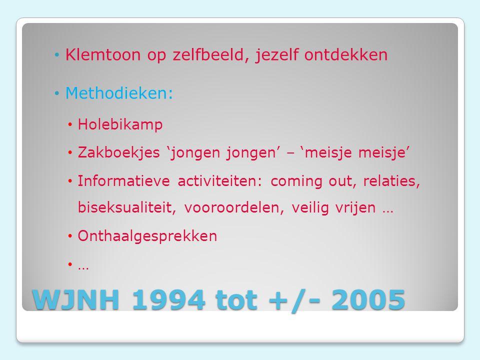 WJNH 1994 tot +/- 2005 Klemtoon op zelfbeeld, jezelf ontdekken Methodieken: Holebikamp Zakboekjes 'jongen jongen' – 'meisje meisje' Informatieve activiteiten: coming out, relaties, biseksualiteit, vooroordelen, veilig vrijen … Onthaalgesprekken …