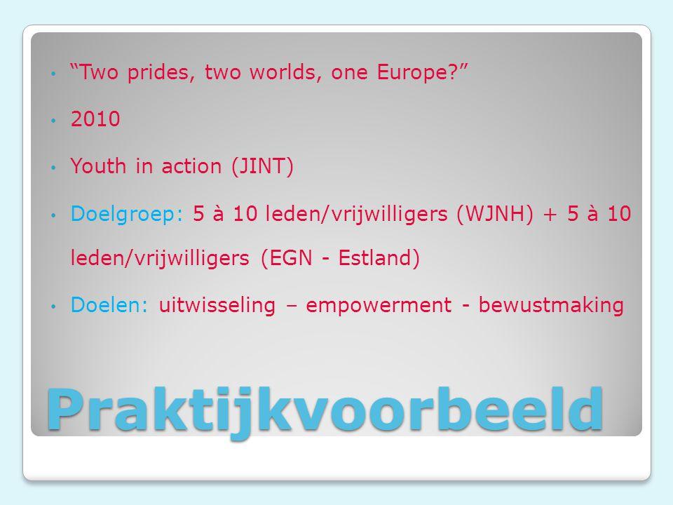 Praktijkvoorbeeld Two prides, two worlds, one Europe? 2010 Youth in action (JINT) Doelgroep: 5 à 10 leden/vrijwilligers (WJNH) + 5 à 10 leden/vrijwilligers (EGN - Estland) Doelen: uitwisseling – empowerment - bewustmaking