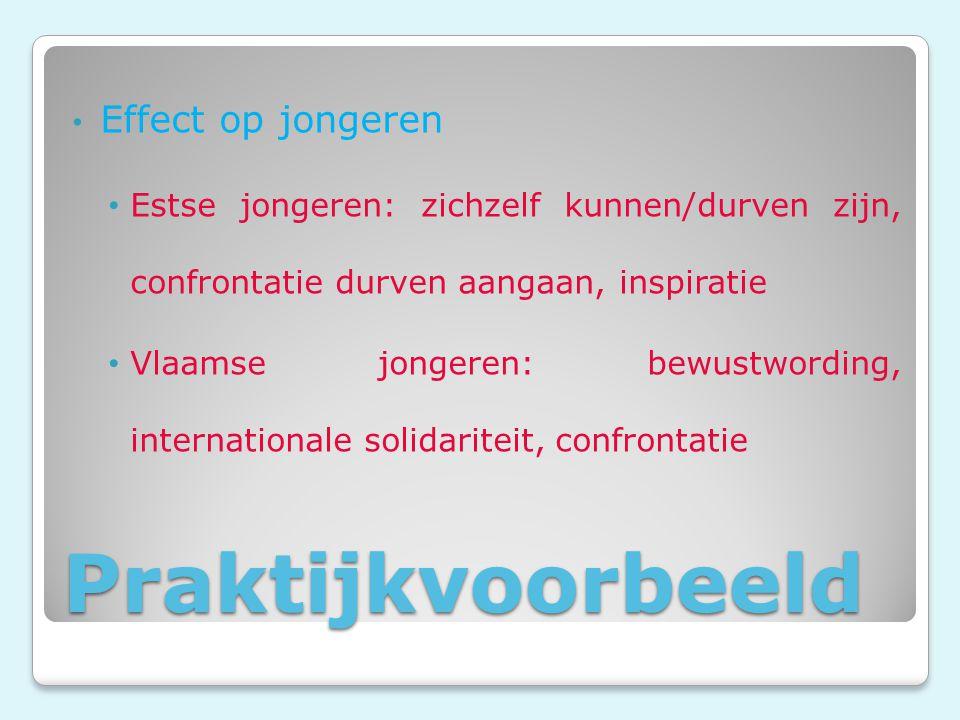 Praktijkvoorbeeld Effect op jongeren Estse jongeren: zichzelf kunnen/durven zijn, confrontatie durven aangaan, inspiratie Vlaamse jongeren: bewustwording, internationale solidariteit, confrontatie