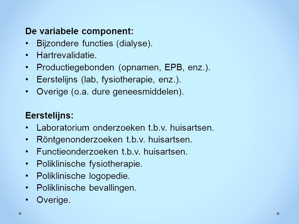 De variabele component: Bijzondere functies (dialyse). Hartrevalidatie. Productiegebonden (opnamen, EPB, enz.). Eerstelijns (lab, fysiotherapie, enz.)