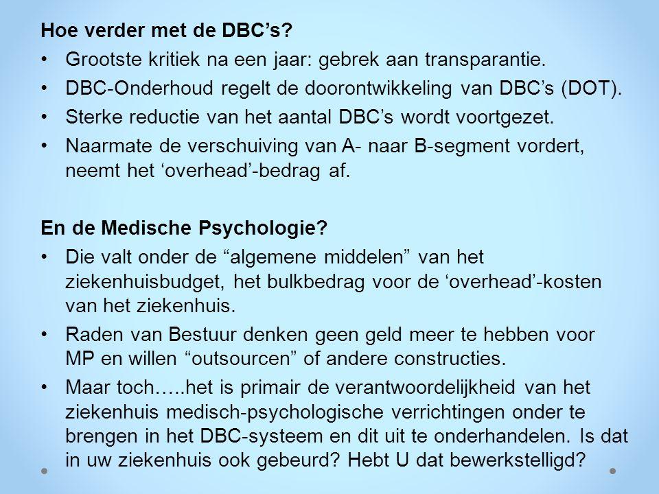 Hoe verder met de DBC's? Grootste kritiek na een jaar: gebrek aan transparantie. DBC-Onderhoud regelt de doorontwikkeling van DBC's (DOT). Sterke redu