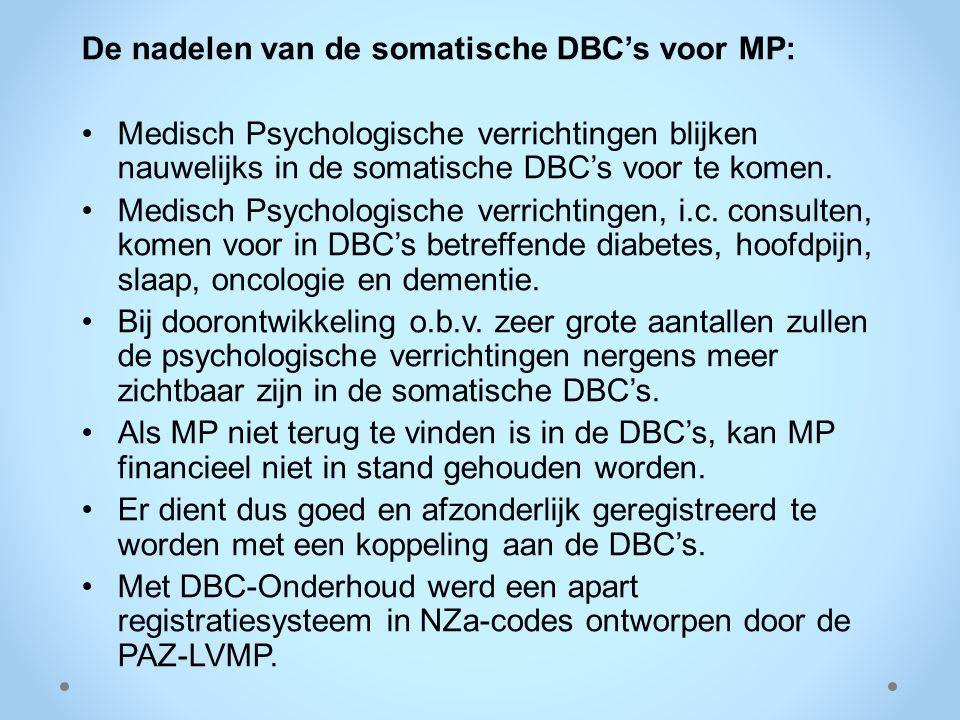 De nadelen van de somatische DBC's voor MP: Medisch Psychologische verrichtingen blijken nauwelijks in de somatische DBC's voor te komen. Medisch Psyc