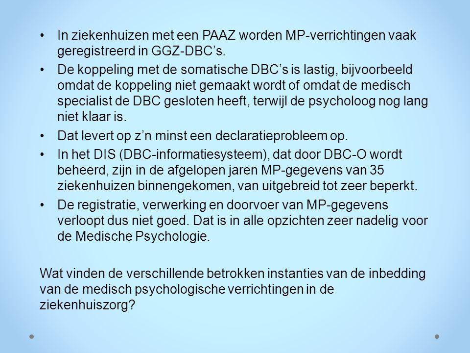 In ziekenhuizen met een PAAZ worden MP-verrichtingen vaak geregistreerd in GGZ-DBC's. De koppeling met de somatische DBC's is lastig, bijvoorbeeld omd