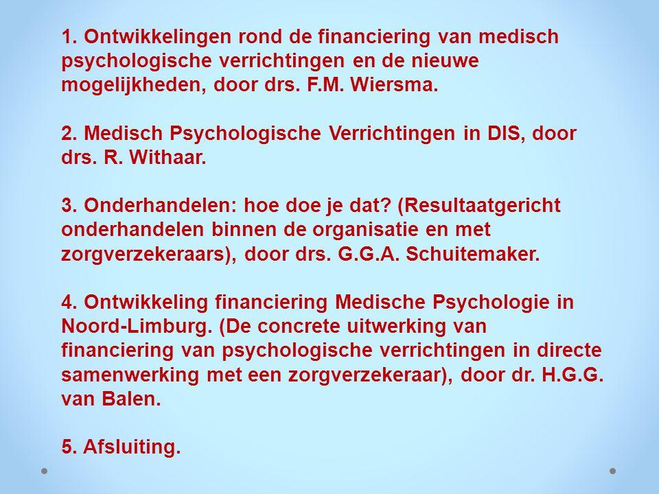 CURSUS-PROGRAMMA: 1. Ontwikkelingen rond de financiering van medisch psychologische verrichtingen en de nieuwe mogelijkheden, door drs. F.M. Wiersma.