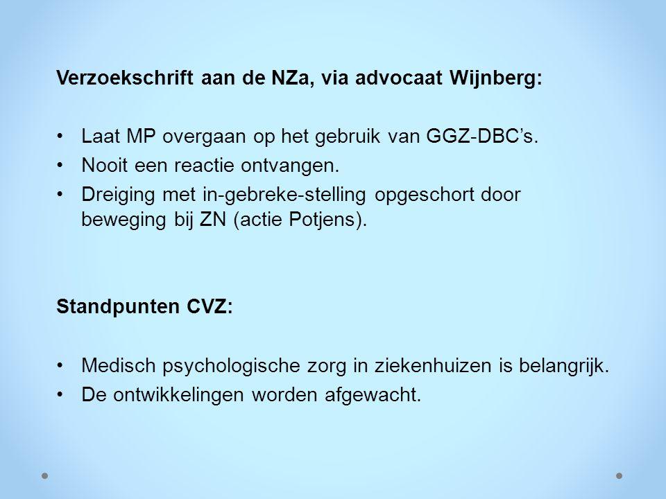 Verzoekschrift aan de NZa, via advocaat Wijnberg: Laat MP overgaan op het gebruik van GGZ-DBC's. Nooit een reactie ontvangen. Dreiging met in-gebreke-