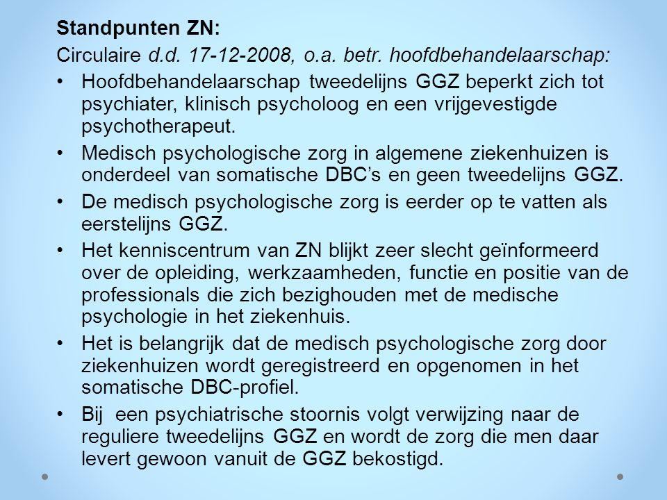 Standpunten ZN: Circulaire d.d. 17-12-2008, o.a. betr. hoofdbehandelaarschap: Hoofdbehandelaarschap tweedelijns GGZ beperkt zich tot psychiater, klini