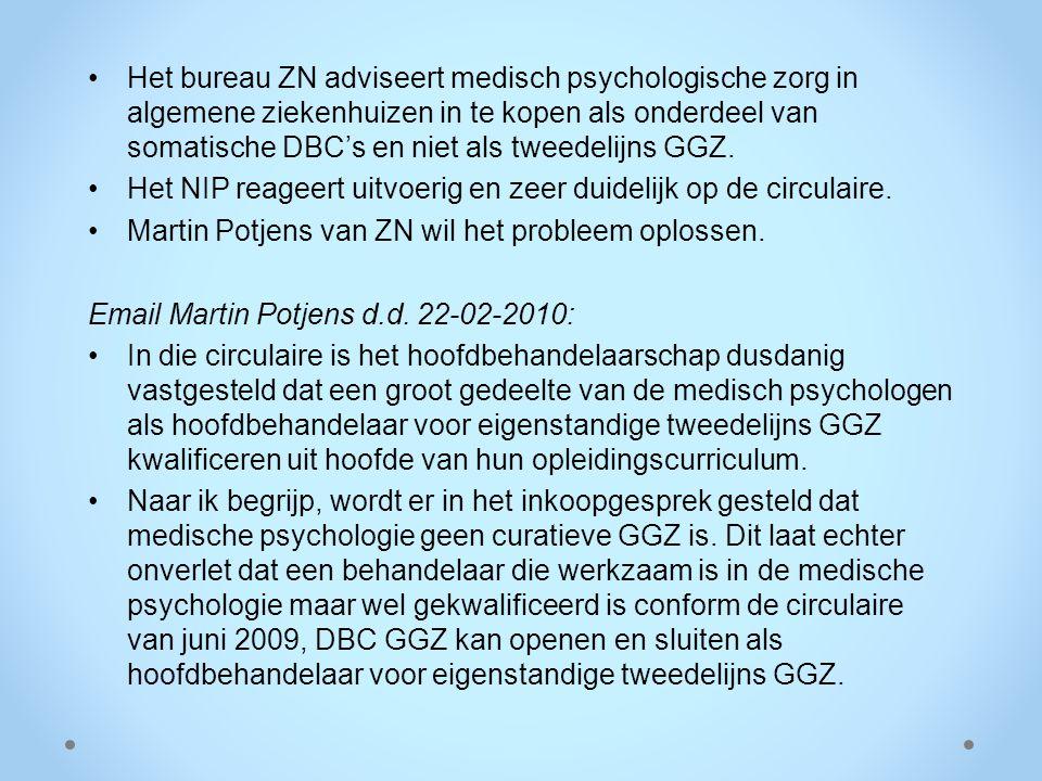 Het bureau ZN adviseert medisch psychologische zorg in algemene ziekenhuizen in te kopen als onderdeel van somatische DBC's en niet als tweedelijns GG
