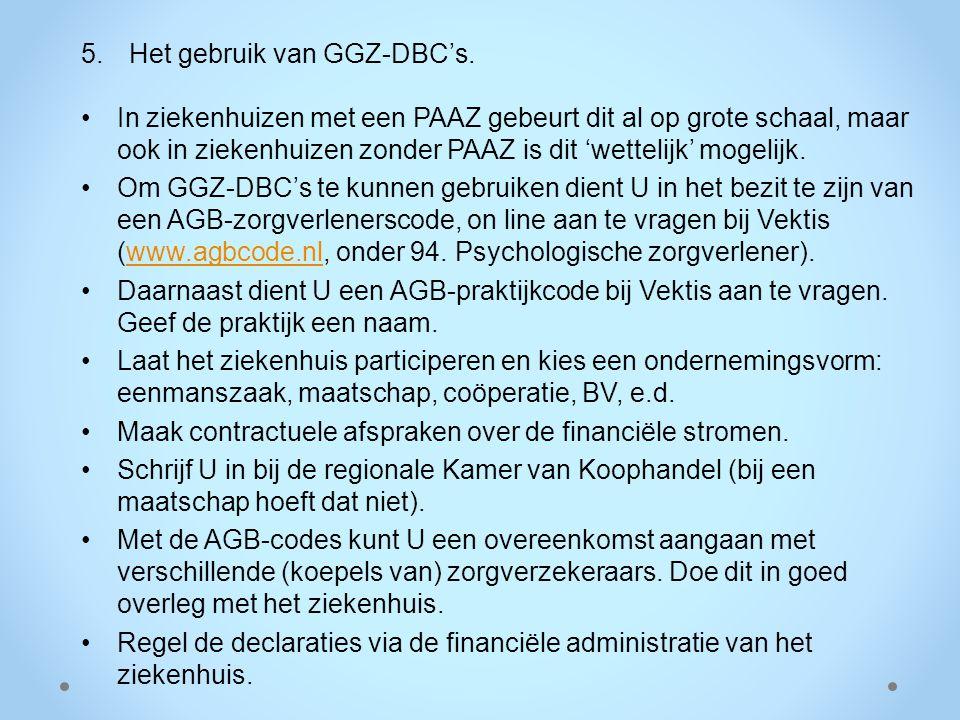 5.Het gebruik van GGZ-DBC's. In ziekenhuizen met een PAAZ gebeurt dit al op grote schaal, maar ook in ziekenhuizen zonder PAAZ is dit 'wettelijk' moge