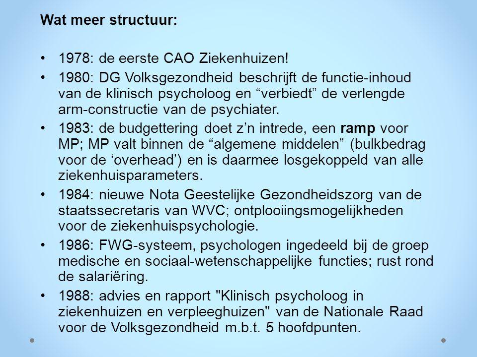 """Wat meer structuur: 1978: de eerste CAO Ziekenhuizen! 1980: DG Volksgezondheid beschrijft de functie-inhoud van de klinisch psycholoog en """"verbiedt"""" d"""